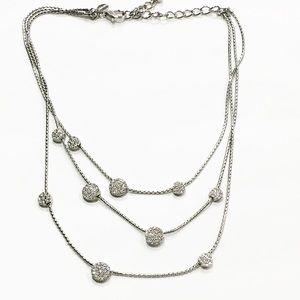 Chico's silver tone rhinestone layered necklace